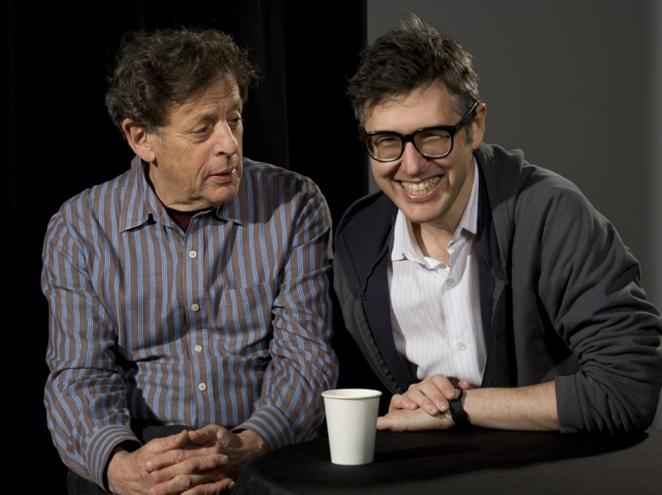 <strong>Glass on Glass</strong>: Philip Glass (left) and Ira Glass are second cousins.  (Pavel Antonov/St. Ann's Warehouse)