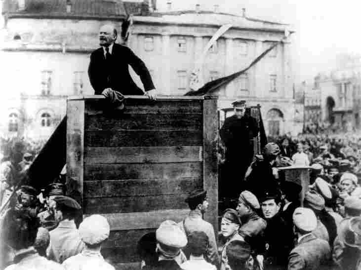 Lenin speaking to the troops in 1920 after Stalin had ordered that Leon Trotsky be removed from the photo.