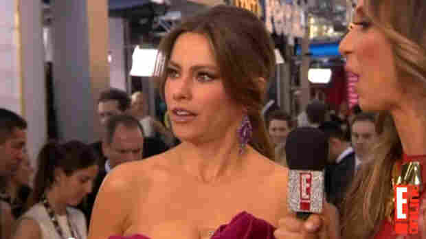 """Sofia Vergara reacts to being told that she had said at the Golden Globes that she was wearing """"$5 million worth of jewelry and no panties."""" She denied it, saying she'd only said she was wearing small panties."""