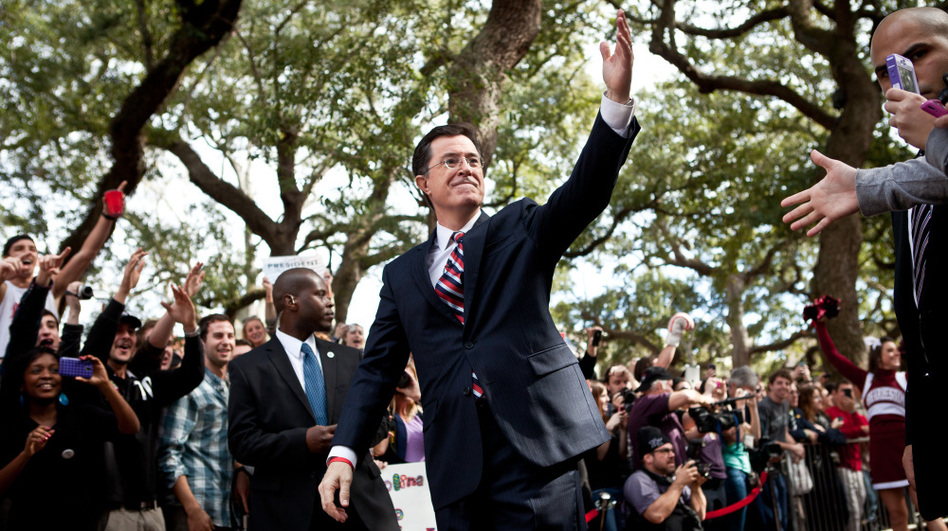 Comedian Stephen Colbert at a campaign stop in Charleston, South Carolina. (Getty Images)