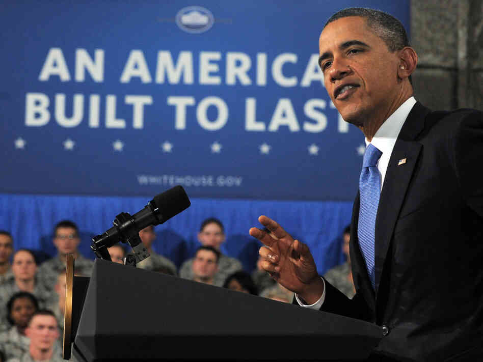 President Barack Obama speaks at the Buckley Air Force Base in Aurora, Colorado on Jan. 26, 2012. Obama denied Republican claims he was waging class warfare as he set out to sell his call for tax hikes on the rich.