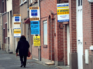 Buildings on sale on Jan.31, 2012 in La Basse, northern France. The French construction industry is set to shed 35,000 jobs next year because of the European economic crisis and government austerity measures.