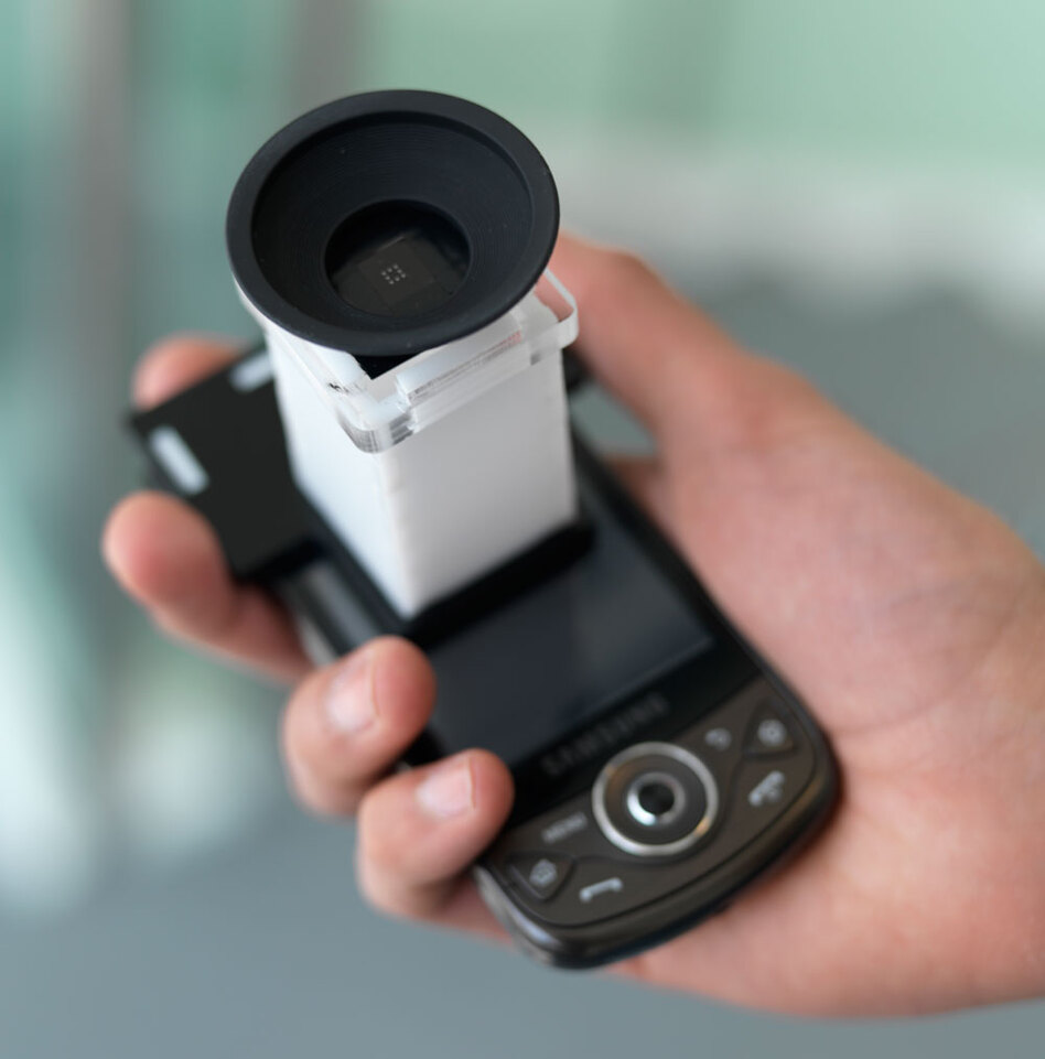 EyeNetra's smartphone-based NETRA system can perform an eye exam in roughly two minutes.