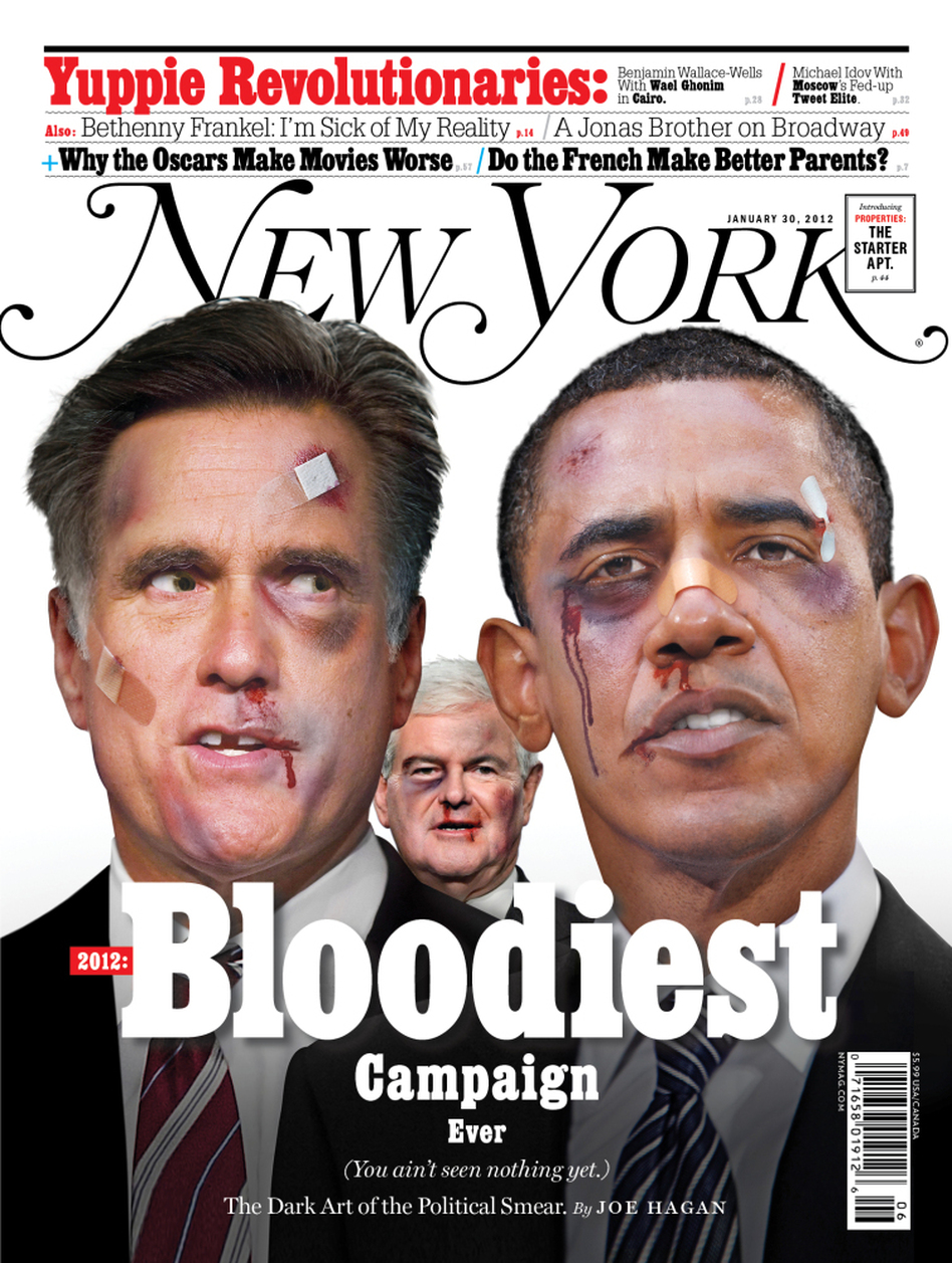 "Joe Hagan's <a href=""http://nymag.com/news/features/negative-campaigning-2012-1/"">cover story</a> in the Jan. 22 edition of <em>New York Magazine</em> details why the 2012 election will be the ""most negative in the history of American politics."""