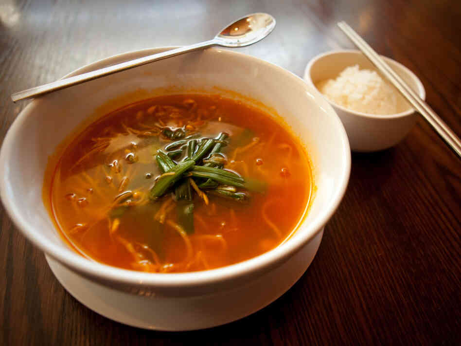 Haechangkuk, a Korean homestyle soup made with beef broth and bean sprouts, is a favorite hangover cure.