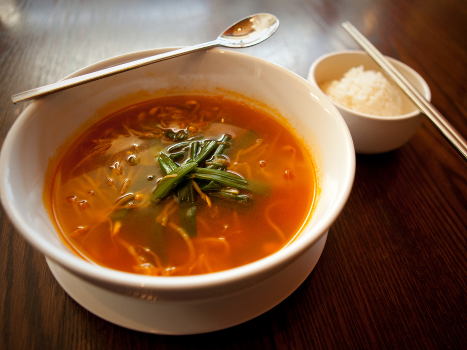 <em>Haechangkuk</em>, a Korean homestyle soup made with beef broth and bean sprouts, is a favorite hangover cure. (John Rose/NPR)