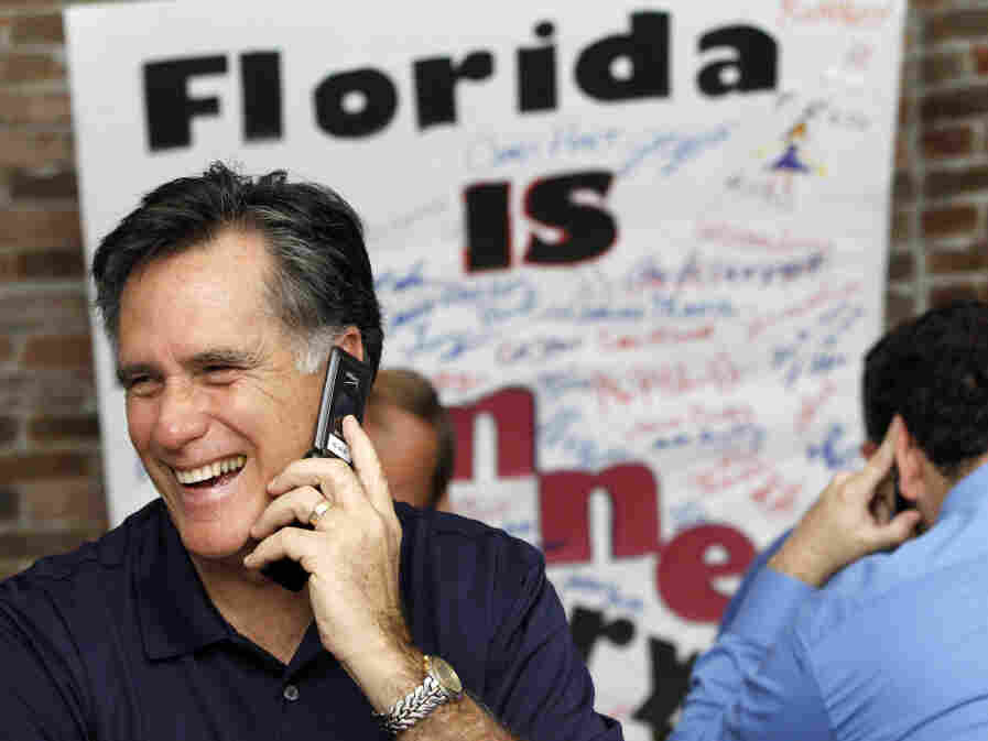 Mitt Romney had reason to smile on Florida primary day, Jan. 31, 2012.