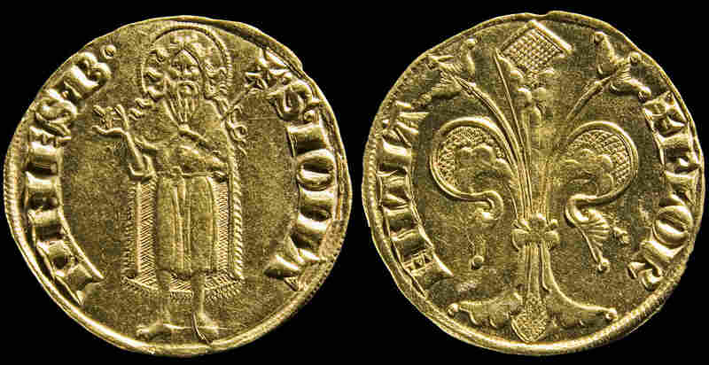 The Money and Beauty exhibition starts with a small gold coin – the florin, named after Florence. First minted in 1252, it was used all over Europe by the end of that century.