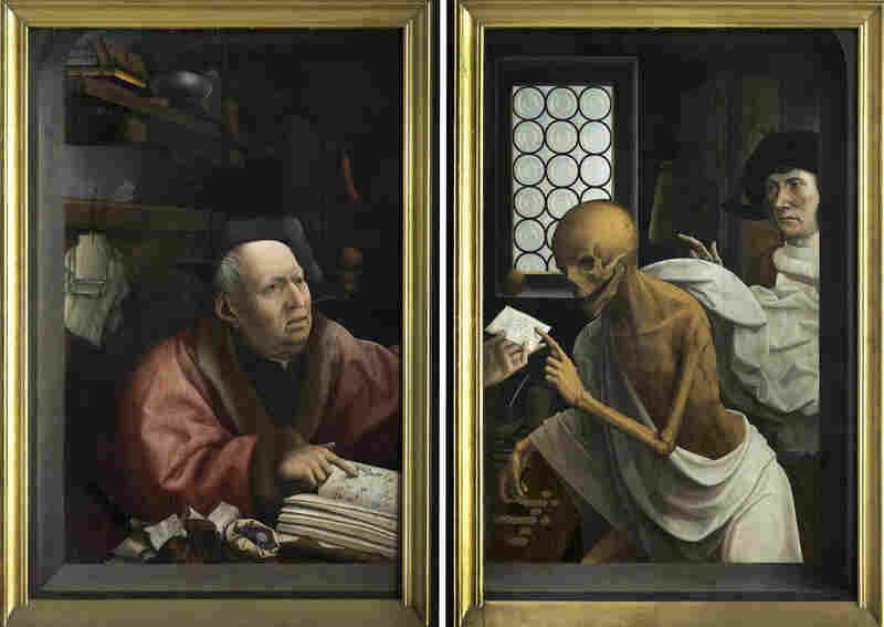 "This painting, ""Death and the Miser,"" by Jan Provoost, explores the links between high finance, economy and art, and the religious and political upheavals of the time."