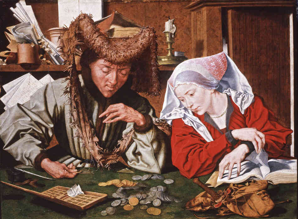 Money and Beauty, an art exhibition at the grand Palazzo Strozzi in Florence, Italy, looks at the global banking system as it developed in Italy during the medieval and early Renaissance times. This oil painting by Marinus van Reymerswaele, dated 1540, depicts a money-changer and his wife. In those days, the powerful Catholic Church banned money lending.