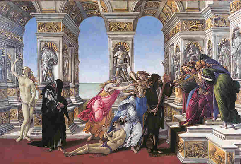 "This painting, ""The Calumny of Apelles"" by Sandro Botticelli, is a prime example of how the artist's works reflected the shifts and tensions between secular and sacred."