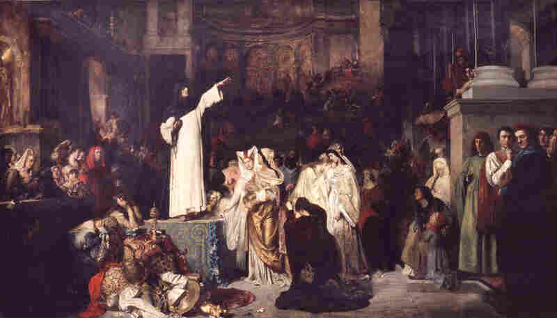 """The two """"bonfires of vanities"""" that Savonarola organized, with numerous artists tossing their """"lascivious and immoral"""" works into the flames, marked the end of an era. """"Savonarola Preaching Against Luxury and Preparing the Bonfire of the Vanities"""" is an 1881 painting by Ludwig von Langenmantel."""