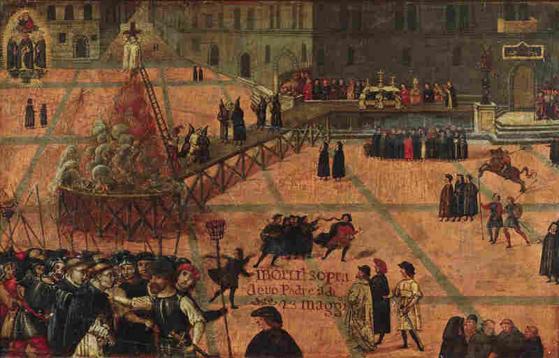 """This painting, the """"Execution of Girolamo Savonarola"""" by Filippo Dolciati, represents a time of crisis for both the Medici Bank and the Medici family itself. Savonarola was a Dominican friar who preached against moral corruption and was known for burning books and destroying art that he considered immoral. He was executed in 1498."""