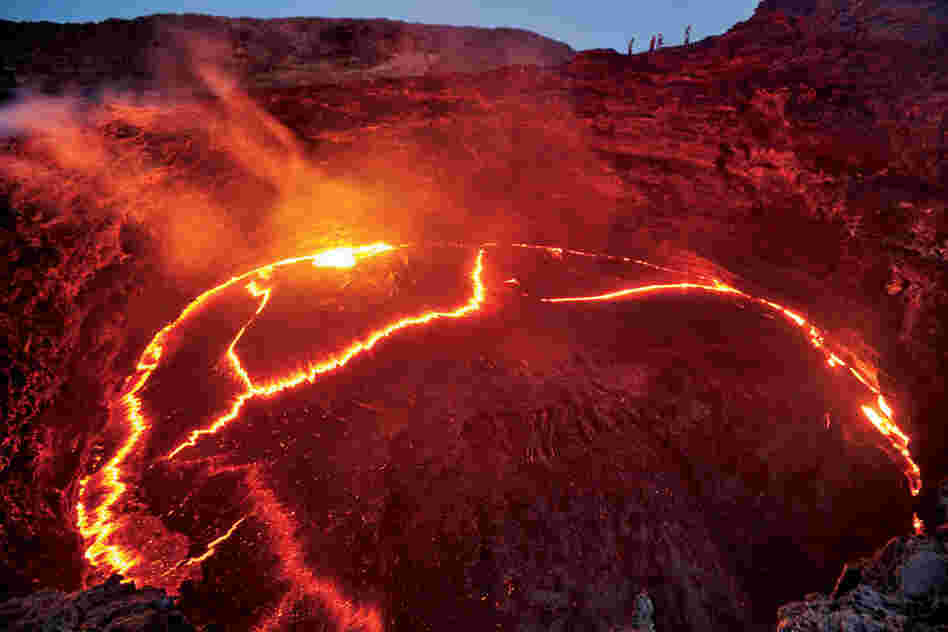 A lake of lava bubbles atop Erta Ale, the region's most active volcano.