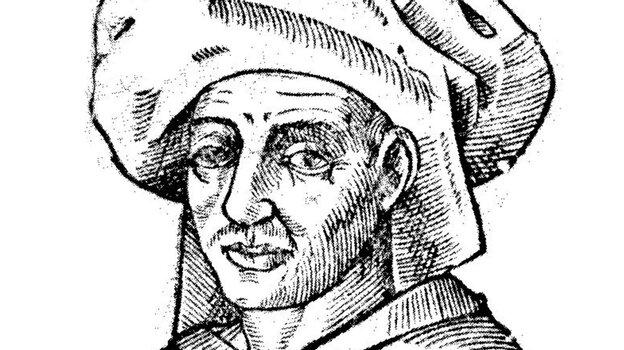A woodcut of Josquin.