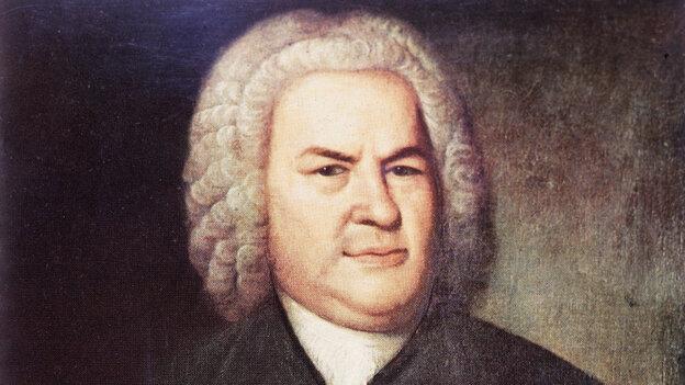 Painted portrait of German composer and organist Johann Sebastian Bach.