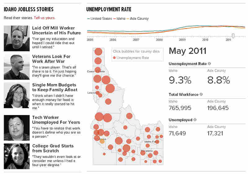 Visit StateImpact Idaho to see an interactive graphic that tracks the state's unemployment troubles.