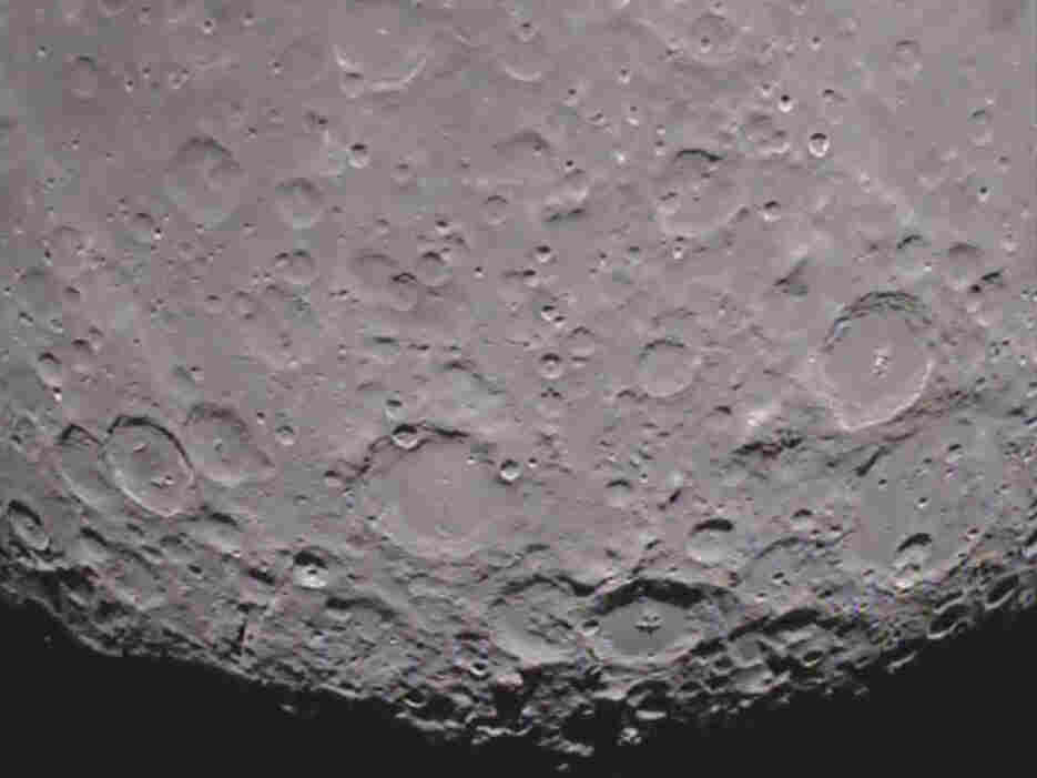 The south pole of the far side of the moon as seen from the GRAIL mission's Ebb spacecraft.