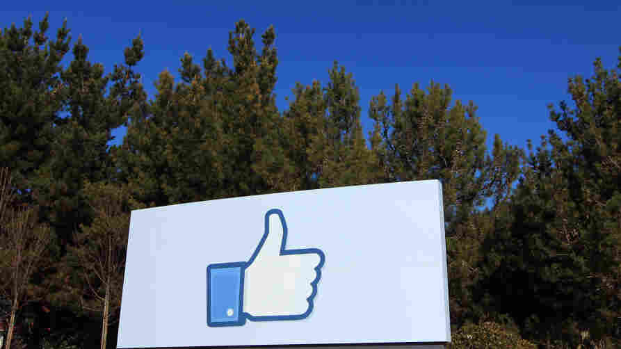 """A giant """"like"""" icon made popular by Facebook is seen at the company's new headquarters in Menlo Park, Calif."""