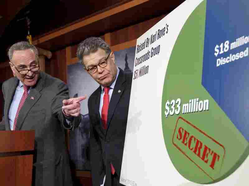 Sen. Charles Schumer, D-N.Y. (left), and Sen. Al Franken, D-Minn., discuss superPACs Wednesday.