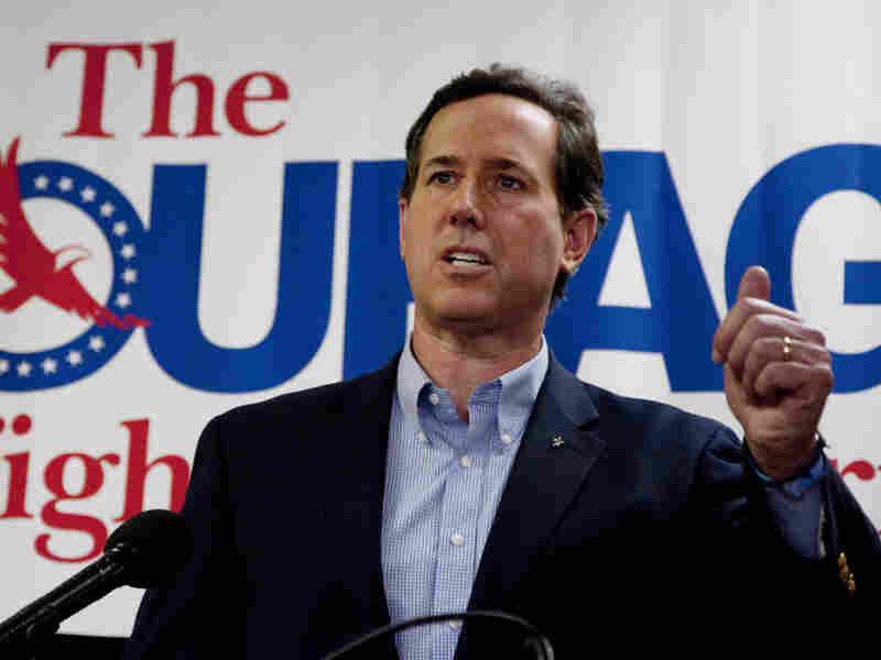 Rick Santorum speaks Tuesday night in Las Vegas.