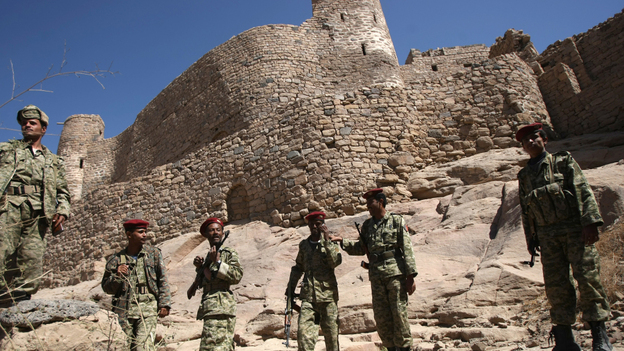 Yemeni army soldiers gather at the historic castle of Rada last month, as hundreds of al-Qaida gunmen yielded to tribal pressure and withdrew from Rada, a town they had held for nine days. The U.S. is increasingly turning its focus to al-Qaida affiliates such as the one in Yemen. (AFP/Getty Images)