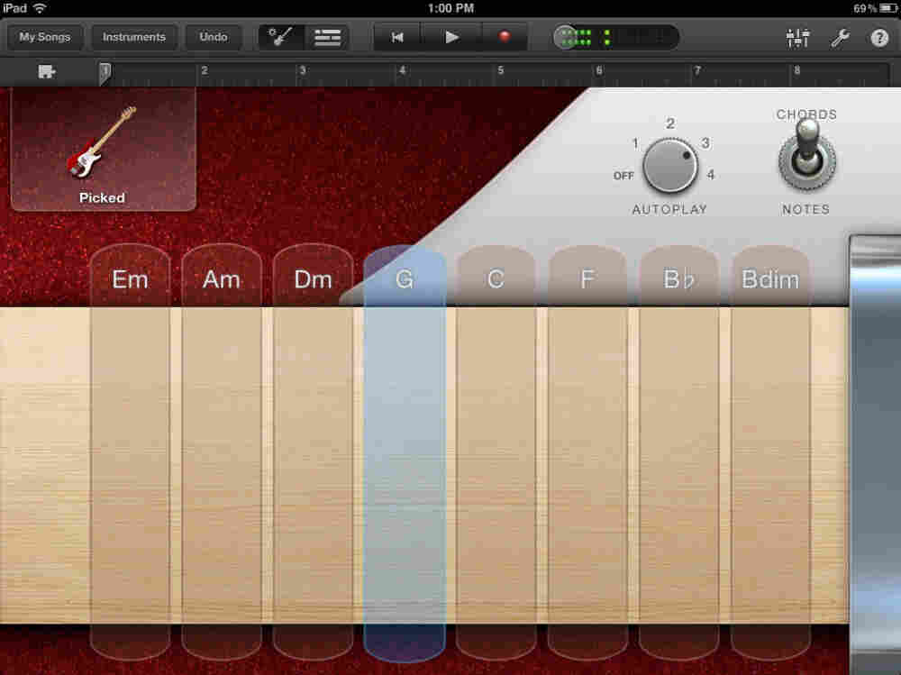 "Apple's Garageband includes ""smart"" instruments that will play chords and note patterns with the push of a virtual button."