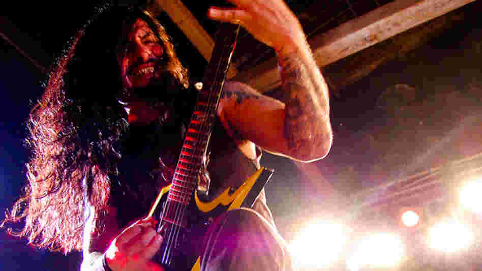 Krisiun's Moyses Kolesne in mid-shred.