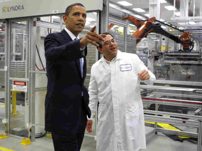 President Obama tours the headquarters of the Solyndra solar panel company in Freemont, Calif., on May 26, 2010.The company declared bankruptcy in August 2011.