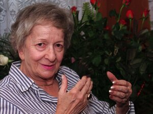 Polish poet Wislawa Szymborska in 1996, the same year she won the Nobel Prize in literature. Szymborska, who was born in 1923, died Wednesday in Krakow, Poland.