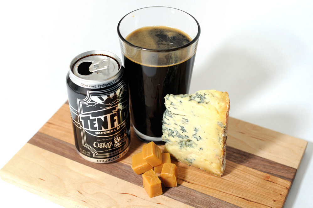 "Stilton Blue Cheese and Imperial Stout: Garrett calls this ""one of the most surprising pairings, one of the ones they like best. Imperial stout, which is a strong stout, pairs very nicely with Stilton, as does another strong style: barley wine, which is strong ale, usually above 10 percent, with a very rich, caramely, malt character. Some residual sweetness is in each of those -- that wor..."
