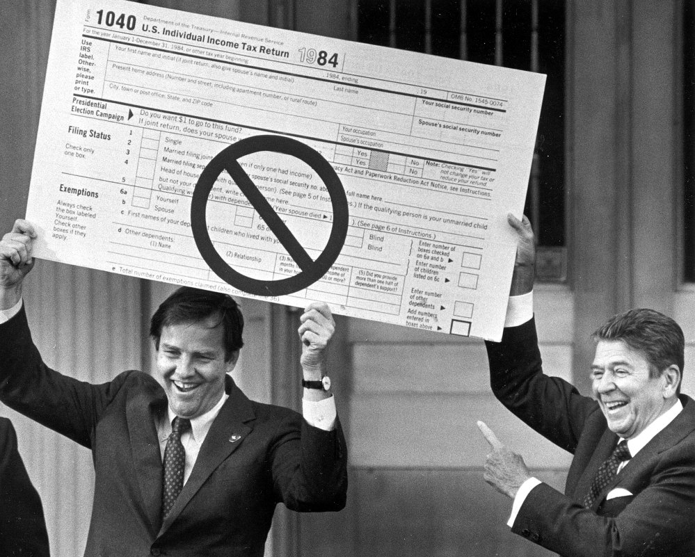 tax and reagan The house republican tax plan unveiled on thursday reflects the party's orthodoxy that tax cuts are boons for the economy -- a credo that has been embedded in the gop psyche since ronald reagan's.