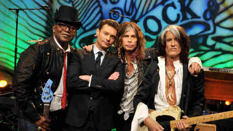 Randy Jackson, Ryan Seacrest, Steven Tyler and Joe Perry at the Tonight Show's studios last month.
