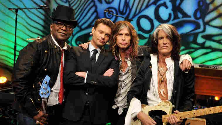 Randy Jackson, Ryan Seacrest, Steven Tyler and Joe Perry at the Tonight Show's studios last month.