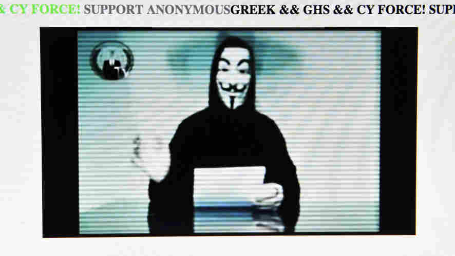 The Greek Ministry of Justice website after it was hacked earlier today.