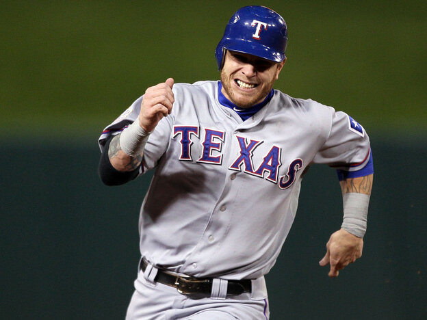 Josh Hamilton of the Texas Rangers during last year's World Series against the St. Louis Cardinals.