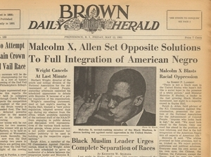 The front page of the Brown Daily Herald on May 12, 1961, the day after Malcolm X spoke at the university. This was the clipping that Malcolm Burnley found last year in the library archives at the university.