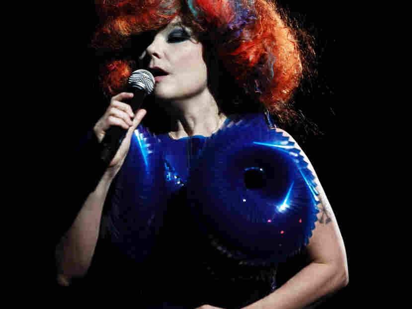 Bjork performs during the Biophilia Live Show at the New York Hall of Science in Queens, N.Y., Feb. 3, 2012.