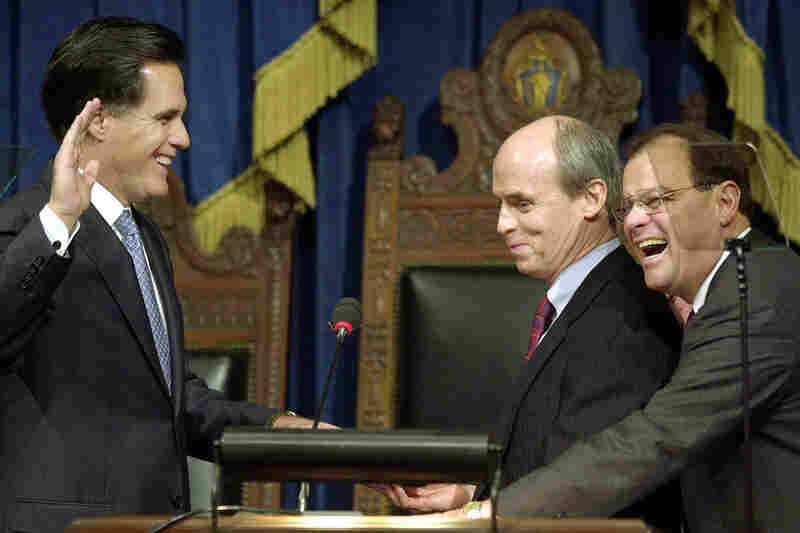 Romney takes the oath of office as governor of Massachusetts in 2003.