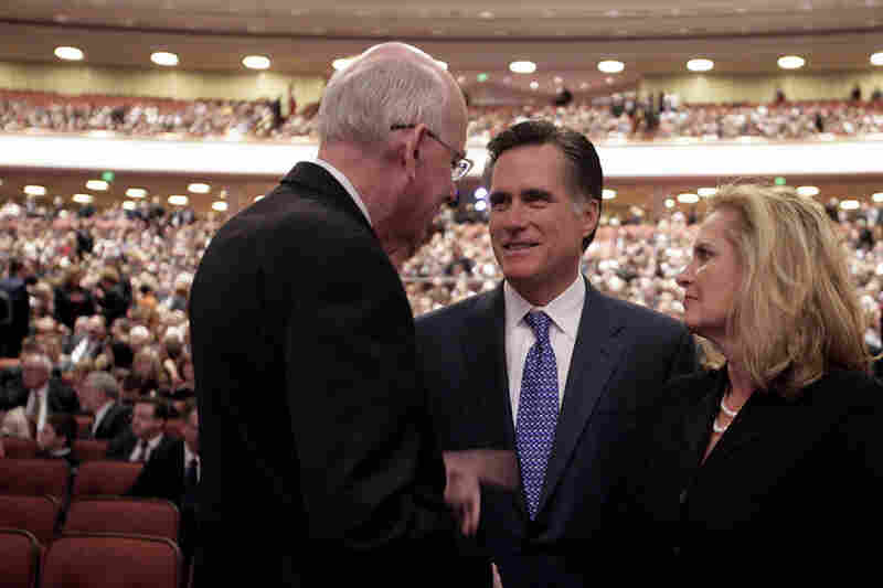 Romney and his wife, Ann, attend the funeral service of Gordon B. Hinckley, president of the Church of Jesus Christ of Latter-day Saints, in 2008.