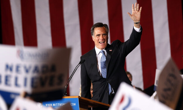 Republican presidential candidate Mitt Romney waves to supporters in Las Vegas Saturday.