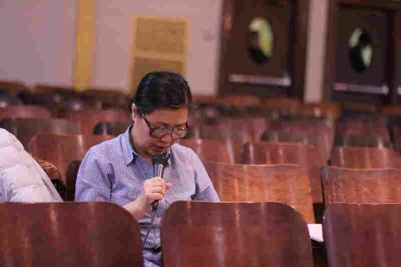 Meeyoung Choi, a Korean-American who grew up in Argentina, translates much of the preaching from English to Spanish for Grace Fellowship's Latino worshippers, who wear radio-transmitted headsets. The church has donated around $2,000 worth of audio equipment to the school.