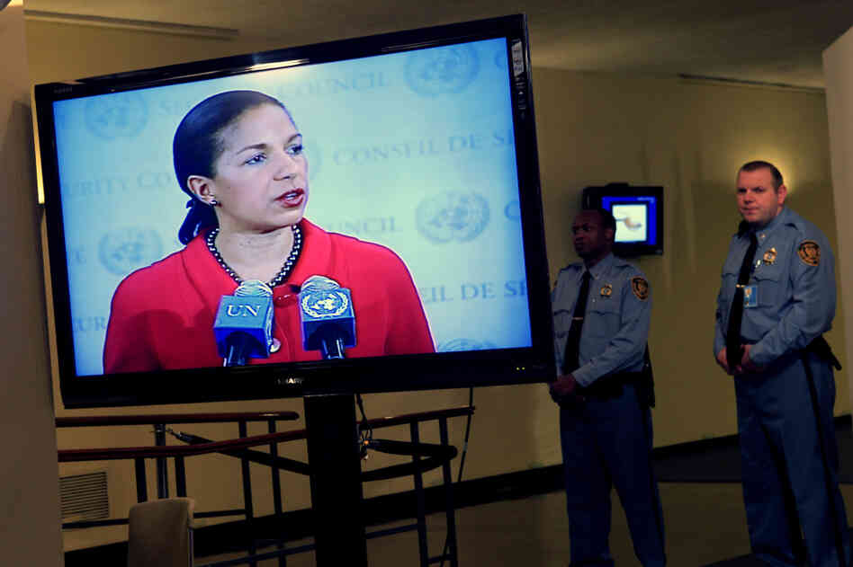 "United States Ambassador to the United Nations Susan Rice spoke after the Security Council vote on Saturday, saying the United States was ""disgusted"" by Russia and China's veto."