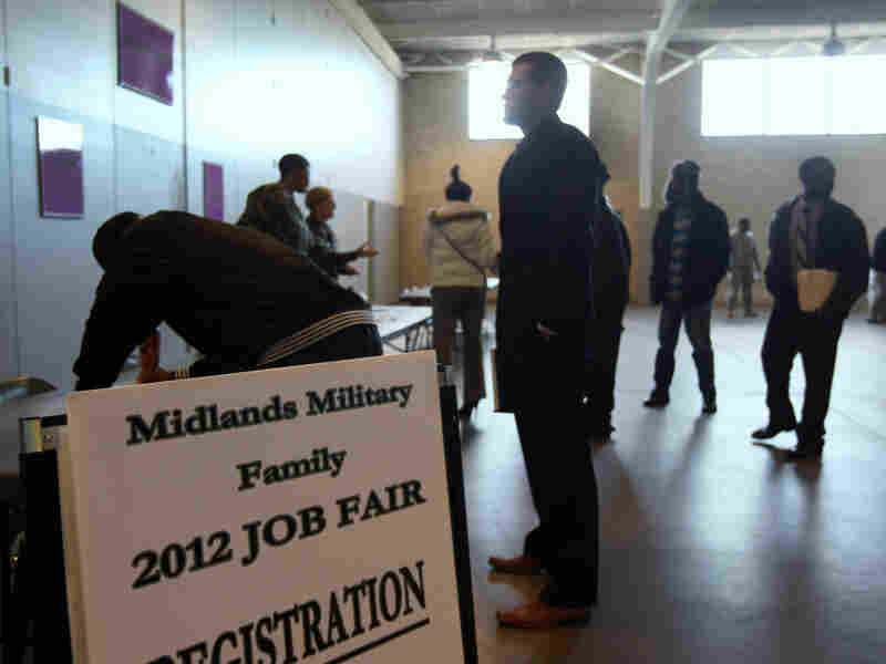 Job applicants register at a military job fair for National Guardsmen, veterans and their families on Jan, 19, 2012 in Columbia, South Carolina. South Carolina has one of the highest unemployment rates in the country at 9.9 percent.