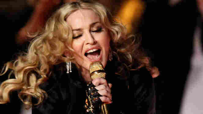 Madonna performs during the Super Bowl XLVI Halftime Show.