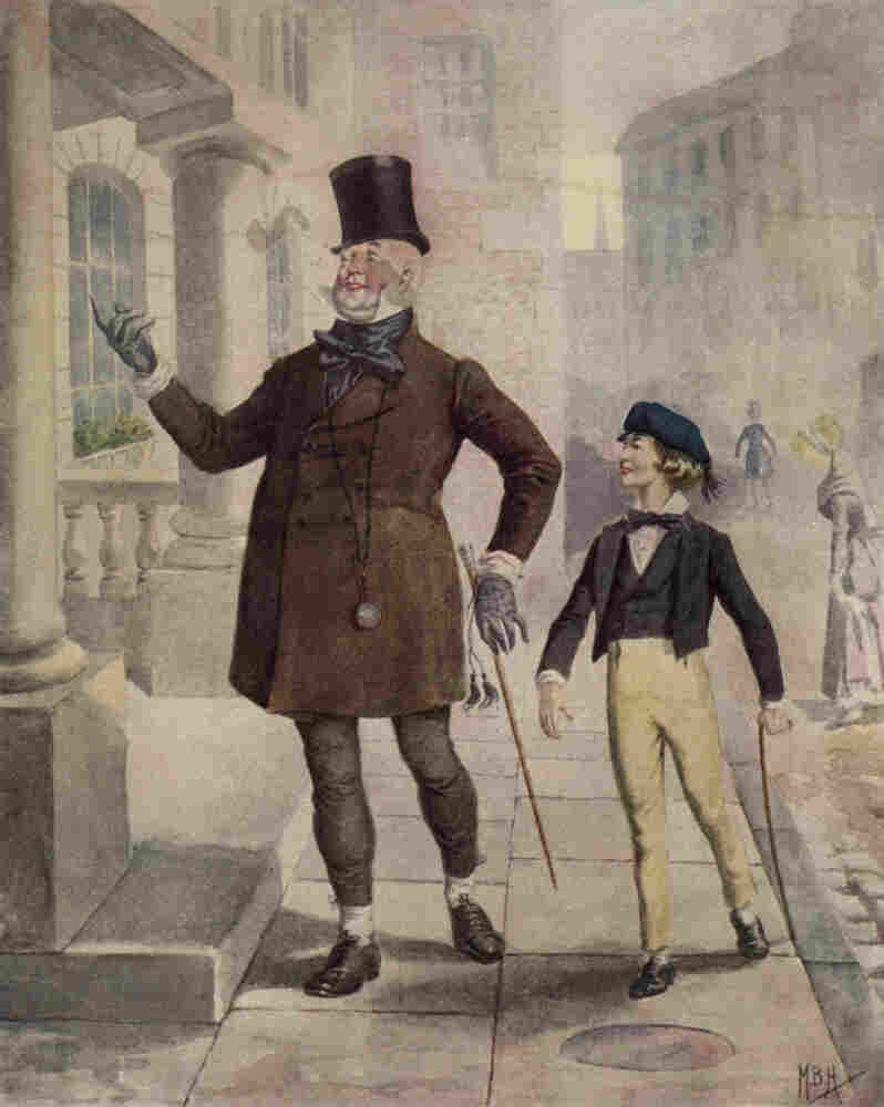 David Copperfield was Dickens' favorite work — and the first book he wrote in the first person. Above, an illustration circa 1850 depicts Mr. Micawber and young Copperfield.