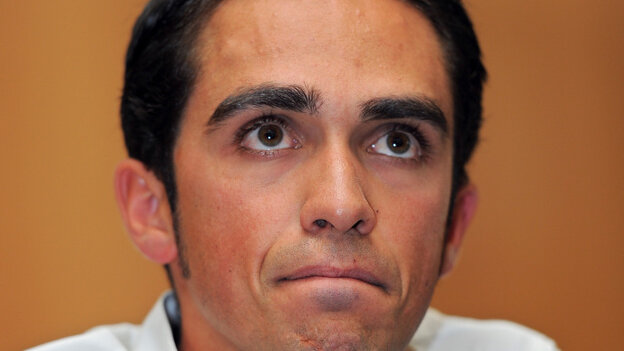 PINTO, SPAIN - FILE: Alberto Contador listens to questions from the media during his press conference pleading his innocence after being tested positive for clenbuterol in 2010.