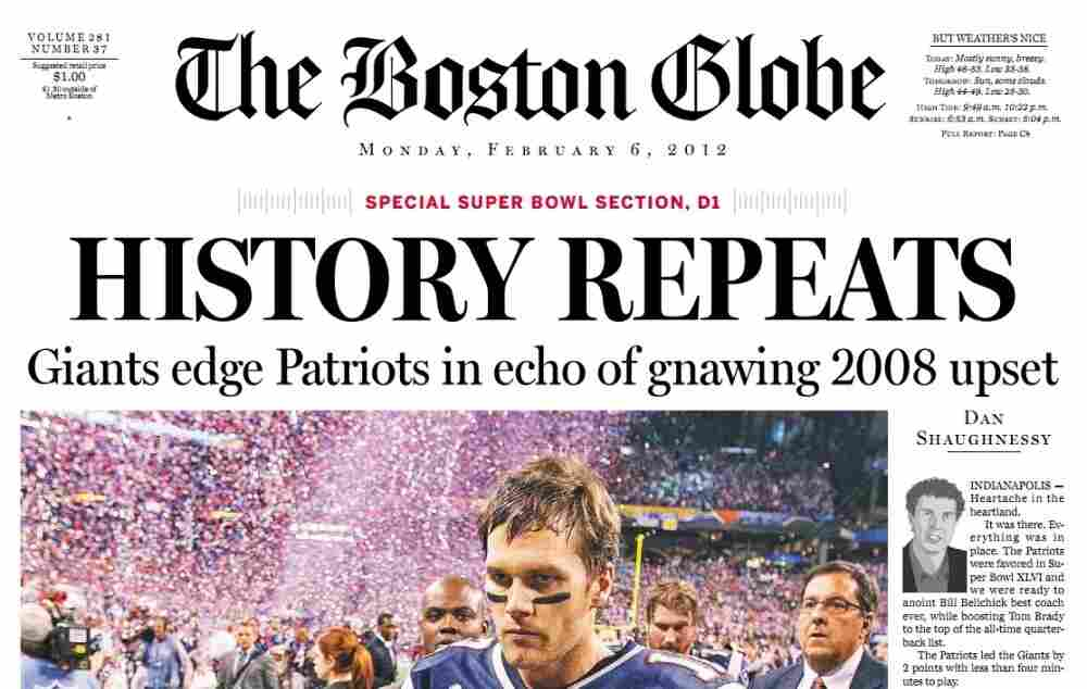 The cover of The Boston Globe's special Super Bowl section.