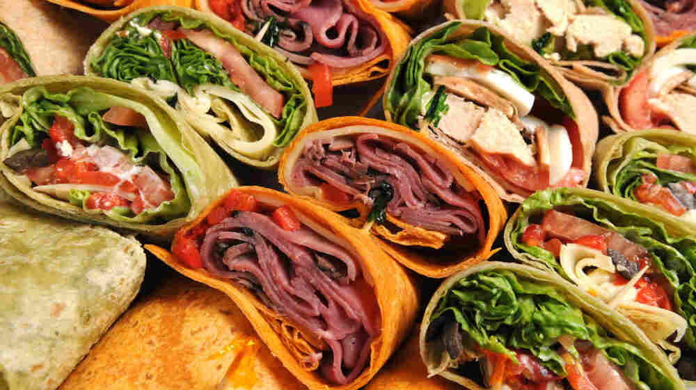A platter of wraps for a Super Bowl party.