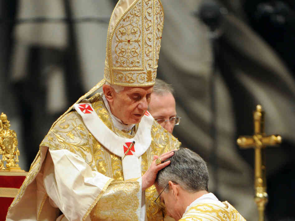 U.S. bishop Charles John Brown is being appointed by Pope Benedict XVI on Jan. 6, 2012 at St Peter's basilica at the Vatican. The Catholic Church in the U.S. and the Obama administration have been feuding over health insurance coverage of contraception.